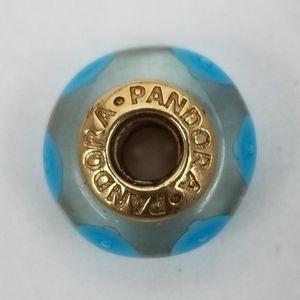 Pandora Charm Murano Glass Gold Retired
